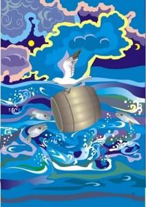 Рисунок Виктории Алагуевой «Легенда об омулевой бочке»